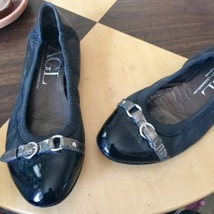 AGL Black Leather Ballet Flats Sz 8.5 Made in 🇮🇹